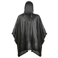 Rain Coat Hooded Poncho Cape Waterproof Lightweight Fesitval Hiking Camping PVC Black