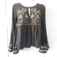American Eagle Top S Floral Embroidered Bell Sleeve Boho Peasant Cottagecore
