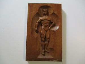 VINTAGE 1950'S WOOD CARVING MUSCLE MAN BODY BUILDER WEIGHT LIFTING SCULPTURE