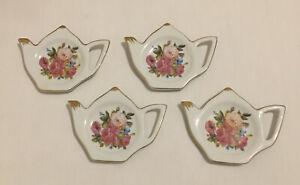 Grace Teaware Saucers Tea Kettle Shaped Gold Rimmed Floral Design - Saucers Only