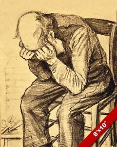 OLD MAN GRIEVING BY VINCENT VAN GOGH COAL SKETCH PAINTING ART REAL CANVAS PRINT