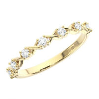 2mm Claw Set Round Brilliant Cut Diamonds Half Eternity Ring in 18K Yellow Gold