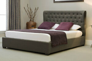 Ottoman Button Style Wing Side Gas Lift Storage Bed, Grey/Stone, Crushed, Double