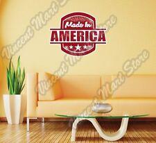 "Made In America United States USA Stamp Wall Sticker Room Interior Decor 22""X22"""