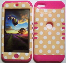 Yellow Dots Pink Skin Hybrid Apple ipod Touch 5 5G Rubber Protector Cover Case