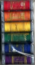 PRESENCIA COTTON SEWING THREAD SAMPLER- CRAYON, 6 Colors 3 Ply 50wt NEW