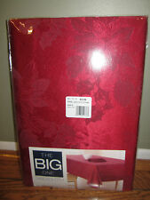 "NWT THE BIG ONE RED POINSETTIA TABLECLOTH OBLONG 60"" X 102"" CHRISTMAS SOLID"