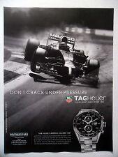 PUBLICITE-ADVERTISING :  TAG Heuer Carrera Calibre 1887  2014 Formule 1,Montres