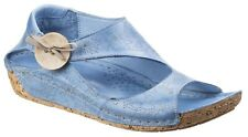 Riva Arlo blue denim leather womens slip on low wedge summer sandal shoe
