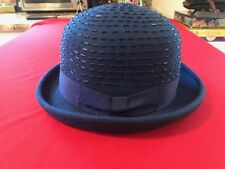 0227264ed4349 Something Special Navy Blue Society 100% Wool Hat Ribbon Bow   Bead Trim  Bucket