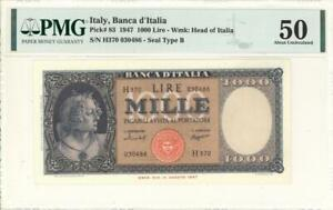 Italy 1000 Lire Currency Banknote 1947 PMG 50 AU