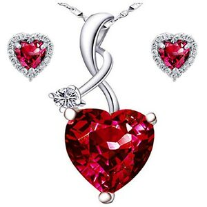 Sterling Silver Heart Cut AAA Created Red Ruby Pendant Necklace & Earrings Set
