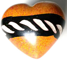 Heart - Soapstone Hand Carved & Hand Painted - Yellow Red Black & White Stripe