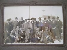 "Vintage pre-1920 Silver Print~10""X6.5""Sepia Glossy~20 men in hats,overcoats,ties"