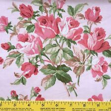 "ROSES cotton fabric for sewing or quilting PINK ROSES BUDS pink background 25""L"