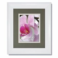 ONE 8x10 Metro White Picture Frame with Slate/White Mat, Glass & Backing