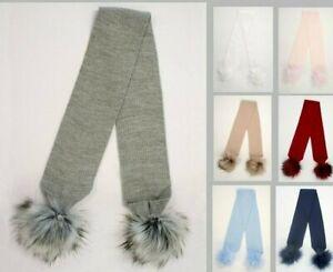 Baby Pom Pom Scarf Boy Girl Soft Fur Pom Poms Knitted 7 Colours 1 Metre Long