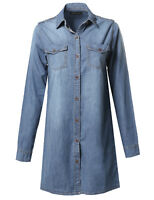 FashionOutfit Women's Denim Loose Fit Button Up Chest Pockets Dress Shirts