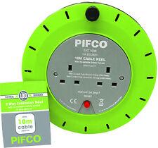 Pifco 10M 2 forma 10 Amp Cable de extensión eléctrica carrete Red Plug & Socket plomo UK