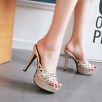 Womens Fashion Glitter Rhinestones Peep Toe Pumps High Heels Sandals Slippers cn