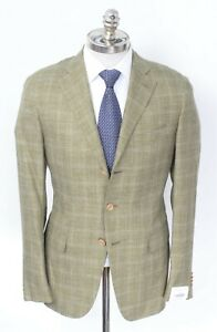 NWT CARUSO Green Windowpane Wool Silk Linen Notch Lapel Sport Coat 42 R (EU 52)