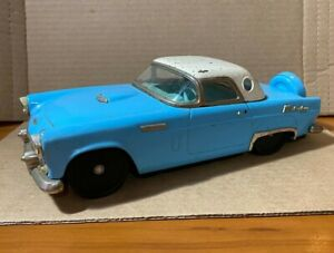"""Vintage Made in Japan Pressed Steel Ford Thunderbird Friction Car Blue 10"""" Long"""