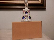 Bohemian Blue/Floral Crystal Bell with Original Box, Made in Czech Republic
