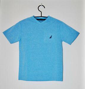 NWT Nautica Big Boys Ocean Heather Blue V-Neck SS Logo T-Shirt sz S M