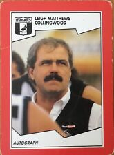 1989 AFL VFL SCANLENS COLLINGWOOD MAGPIES LEIGH MATTHEWS COACH #46 CARD