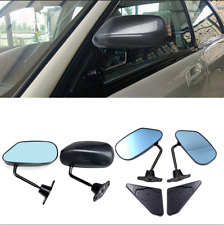 2 Pcs Car SUV Side Rearview Mirror Manual Adjustable F1 Style Carbon Fiber Color