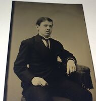 Antique Victorian American Fashion Young Man, Ring on Finger Tintype Photo! US!