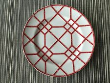 "Ralph Lauren 4 RED PAGODA SALAD PLATES 8""  Red & White Bamboo- New w/tags RARE"