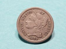 Us coins 3 three cent copper nickel 1882 rare date