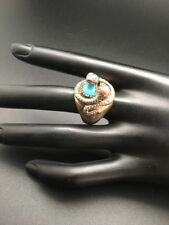 Vintage  Native American Sterling Silver Turquoise Coral Ring Snake Size 11