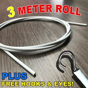 3 Meters Stretch Curtain Wire Kit Blind Cord Stretchy Spring FREE Eyes & Hooks