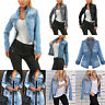Women Denim Jacket Jeans Coat Autumn Stretch Long Sleeve Casual Buttons Outwear