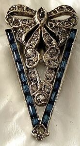VINTAGE STERLING SILVER AND RHINESTONE DRESS CLIP