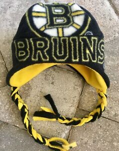 Boston Bruins Ear Flap & Braids Fleece Hat - Sizes Newborn Boys Girls Men Women
