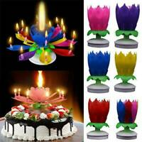 Magic Cake Birthday Lotus Flower Candle Blossom Musical Rotating Decoration AU