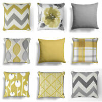 "Ochre Mustard Yellow Grey Cushion Cover Collection 17"" / 18""  43cm / 45cm Covers"