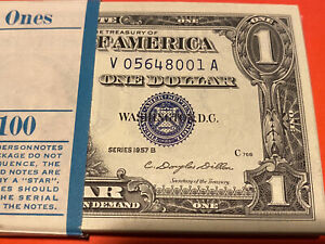 One (1) $1 SILVER CERTIFICATE 1957B VERY RARE GEM UNCIR CONSECUTIVE BILLS