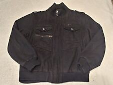 Rocawear Mens Wool 2XL Peacoat Bomber Coat Jacket Lined Black Missing 3 Buttons