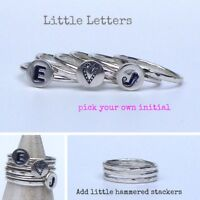 Sterling Silver Personalised Initial Ring - Pick your own initial
