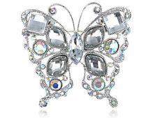 Geometric Shape Stylish Clear Crystal Rhinestone Butterfly Costume Pin Brooch