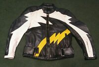Teknic brand leather motorcycle jacket. Size 44/54. Black, White & Yellow.