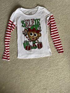 Girl's Justice Selfie Elf Christmas Shirt Size 10