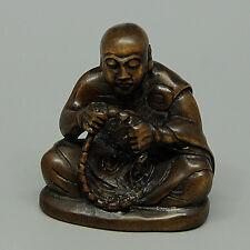 "1940's Japanese handmade Boxwood Netsuke ""BUDDHA/OLDMAN"" Figurine Carving LR18"
