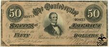 1864 Confederate States Of America $50 Richmond, Virginia Bank Note, 2nd Series