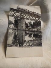c1906 B&W Postcard Railroad Bridge & Train Ludlow Vermont Glitter Enchanced
