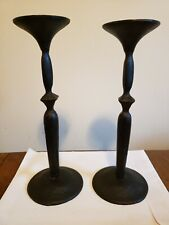 * Handmade Heavy Blackened Metal Candlesticks *